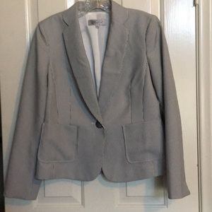KASPER lined jacket gray and white stripes.